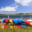 Kayaks at Atlantic shore in Prince Edward Island — Stock Photo