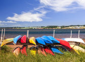 Kayaks at Atlantic shore in Prince Edward Island — Stok fotoğraf