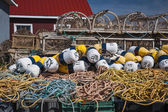 Lobster traps, floats and rope — Stock Photo