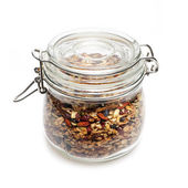 Homemade granola in  jar — Stock Photo