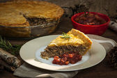 Slice of meat pie Tourtiere — Stock Photo