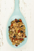 Homemade granola in spoon — Stock Photo
