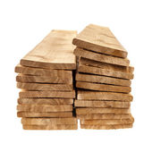 Wooden cedar boards piled — Stock Photo