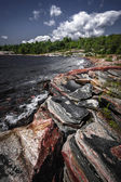 Rocky shore of Georgian Bay — 图库照片