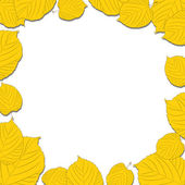 Autumn leaves frame on the white background dropping shadows — Stock Vector