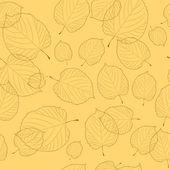 Bezešvé pattern podzimní listí na béžové pozadí — Stock vektor
