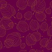 Modèle sans couture de l'automne feuilles sur le fond bordeaux — Vecteur