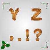 Perník písmena y z — Stock vektor