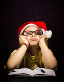 Thinking at a Letter to santa — Stock Photo