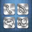 Stock Vector: Communication brushed metal app icons