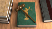 Gavel on a law book — Stock Photo