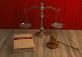 Legal attributes: gavel, scale and law book — Stock Photo