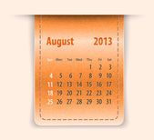 Glossy calendar for august 2013 on leather texture — Stock Vector