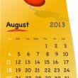 Calendar for august 2013 on orange sticky note - Stock Vector