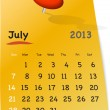 Calendar for july 2013 on orange sticky note - Stock Vector