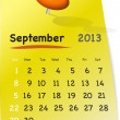 Calendar for september 2013 on yellow sticky note - Stock Vector