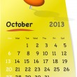 Calendar for october 2013 on yellow sticky note - Stock Vector