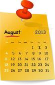 Calendrier août 2013 sur pense-bête orange — Vecteur