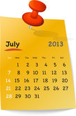 Calendar for july 2013 on orange sticky note — Stock Vector
