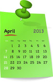 Calendar for april 2013 on green sticky note — Stock Vector