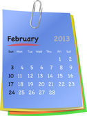Calendar for february 2013 on colorful sticky notes — Stock Vector