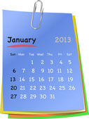 Calendar for january 2013 on colorful sticky notes — Stock Vector