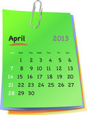 Calendar for april 2013 on colorful sticky notes — Stock Vector