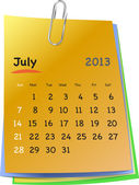 Calendar for july 2013 on colorful sticky notes — Stock Vector