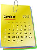 Calendar for october 2013 on colorful sticky notes — Stock Vector