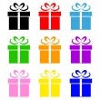 Colorful gift box symbol set — Stock Vector