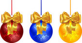 Colorful Christmas balls tied with yellow bow — Stock Vector