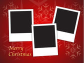 Christmas card templates with blank photo frames — Stock Vector