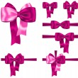 Stock Vector: Pink ribbon set