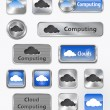 Collection of Cloud computing and Cloud elements — Stock Vector