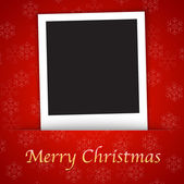 Merry Christmas card template with blank photo frame on the red — Stock Vector