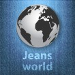 Stock Vector: Jeans world concept with the globe on denim texture background