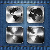 Globe and world map on brushed metal app icons — Stock Vector