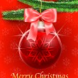 Royalty-Free Stock Векторное изображение: Holiday greetings card with Christmas tree and a bauble hanging