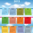 Stock Vector: Colorful Spanish calendar for 2013