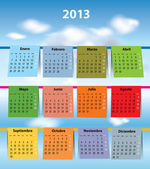 Colorful Spanish calendar for 2013 — Stock Vector