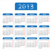 Blue glossy calendar for 2013 year in Spanish — Stock Vector