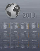 Calendar for 2013 in Spanish with globe — ストックベクタ