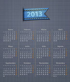 Calendar 2013 year in Spanish linen back jeans inset — Stock vektor