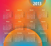 Colorful calendar for 2013 year in Spanish — Stock Vector