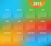 Colorful calendar for 2013 year in Spanish — Stockvector