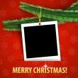 Merry Christmas greeting card with blank photo frame — Stock Vector #15918451