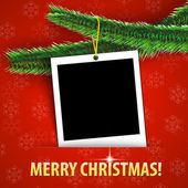 Merry Christmas greeting card with blank photo frame — Stock Vector
