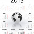Calendar for 2013 in Spanish with globe - Stock Vector