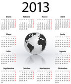 Calendar for 2013 in Spanish with globe — Vector de stock