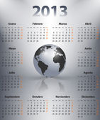 Calendar for 2013 in Spanish with globe — Vettoriale Stock